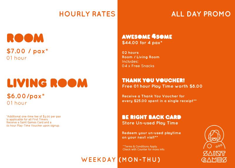 Weekday Rates Board @ Saint Games