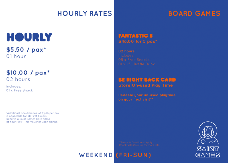Weekend Rates Board @ Saint Games