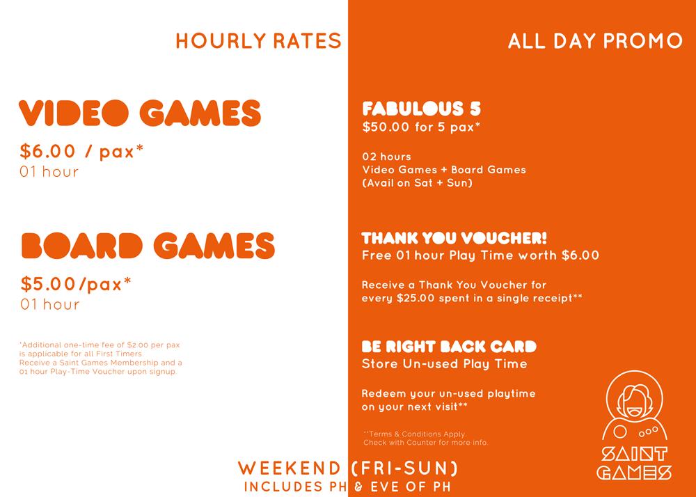 Weekend Rates @ Saint Games