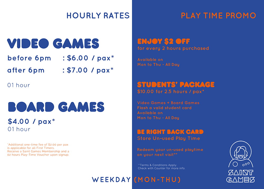 Weekday Rates @ Saint Games